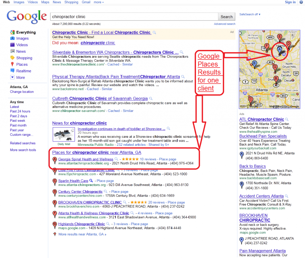 Google Places page one example results atlanta chiropractic clinic local SEO