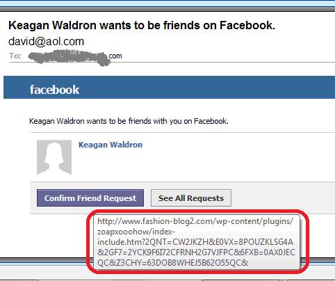 Facebook phishing scam